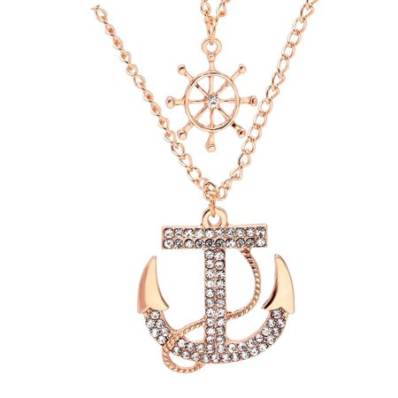 Ahoy Anchor Nautical Rose Gold-tone CZ Chain Necklace - Ginger Lyne Collection](Nautical Necklace)
