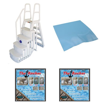 - Main Access 200100T Above Ground Pool Ladder Steps w/ Mat Pad + 2 Sand Weights