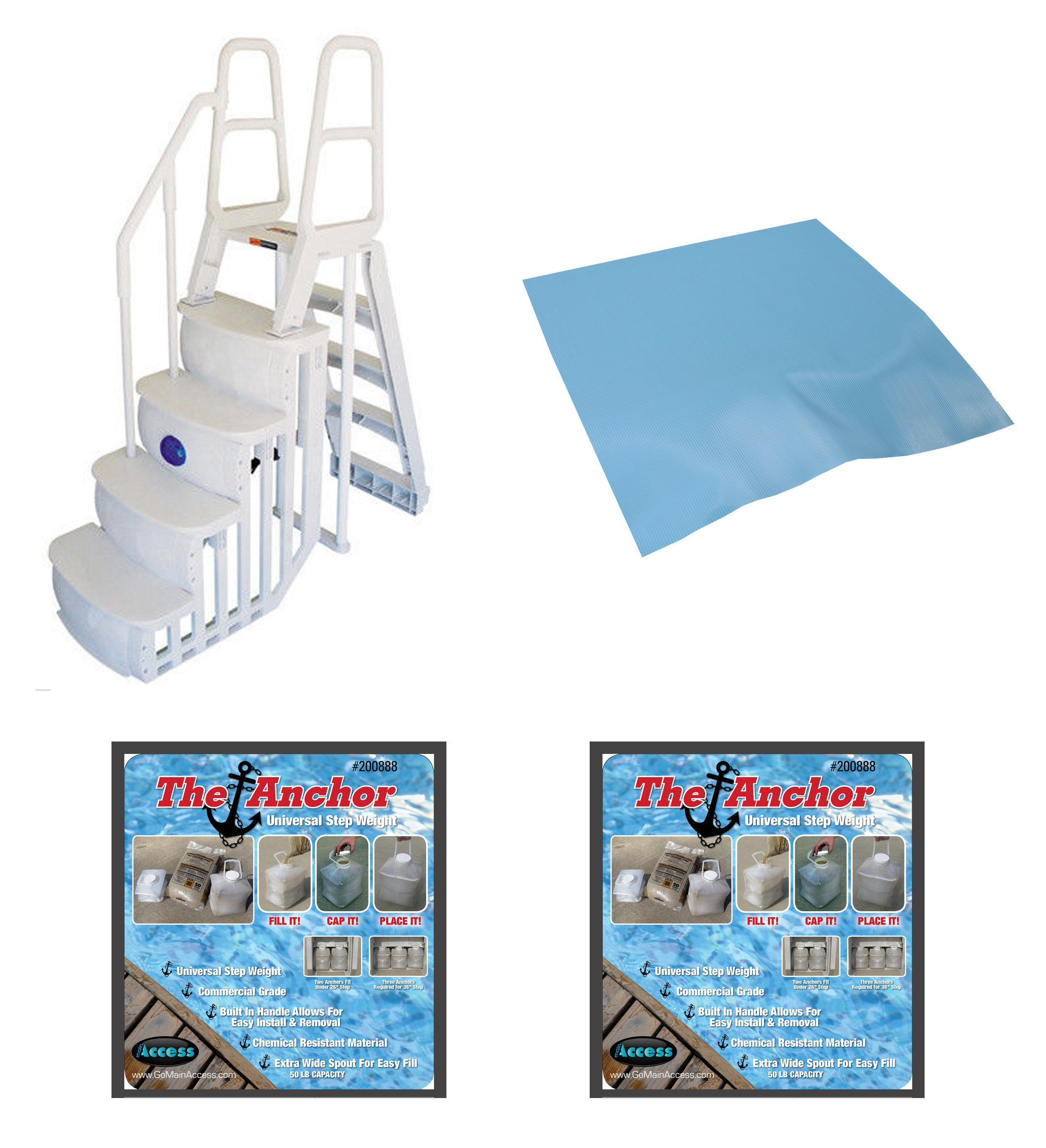 Main Access 200100T Above Ground Pool Ladder Steps w/ Mat Pad + 2 Sand Weights