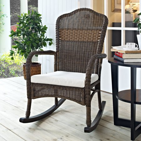 Coral Coast Mocha Resin Wicker Rocking Chair with Beige Cushion ()