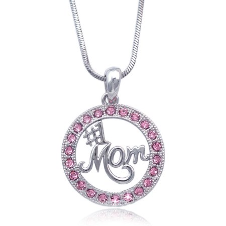cocojewelry Number One MOM Circle of Love Pendant Necklace Mother's Day Gift