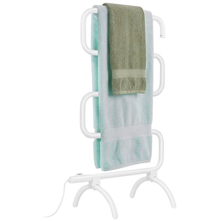 (Costway 100W Electric Towel Warmer Drying Rack Freestanding and Wall Mounted White)