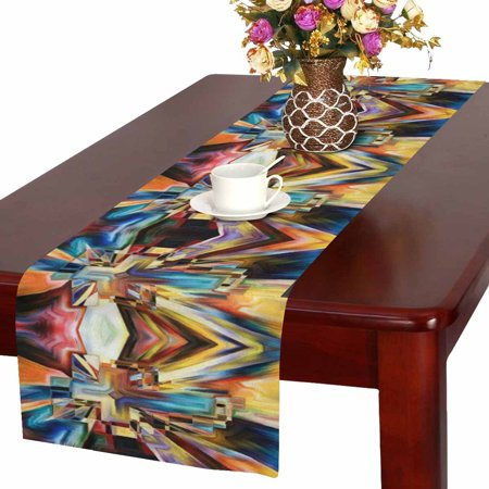 MKHERT Abstract Angles of the Cross Series in Tie Dye Pattern Table Runner for Office Kitchen Dining Wedding Party Banquet 16x72 Inch Cross Pattern Tie