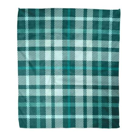 ASHLEIGH Flannel Throw Blanket Check Tartan Plaid Pattern Printing Pattern in Shades of Teal Green Pale Turquoise Aqua 50x60 Inch Lightweight Cozy Plush Fluffy Warm Fuzzy Soft (Lightweight Green)