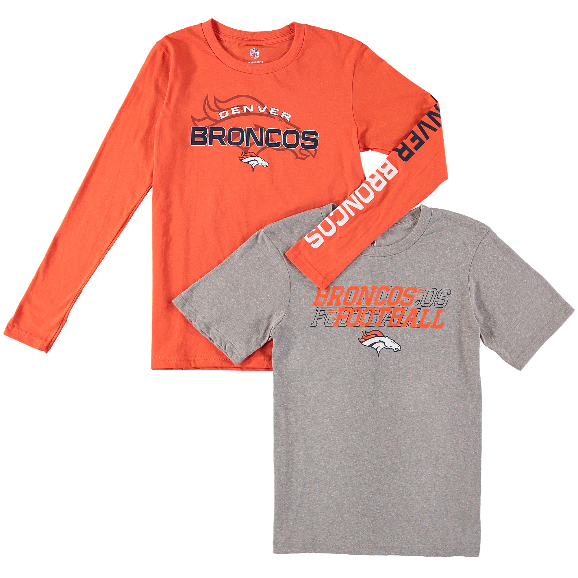 Preschool Gray/Orange Denver Broncos Fan Gear United T-Shirt Combo Pack