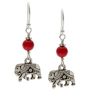 Lolas Jewelry Lola's Jewelry Sterling Silver 'My Good Fortune Elephant' Red Coral Hook Earrings