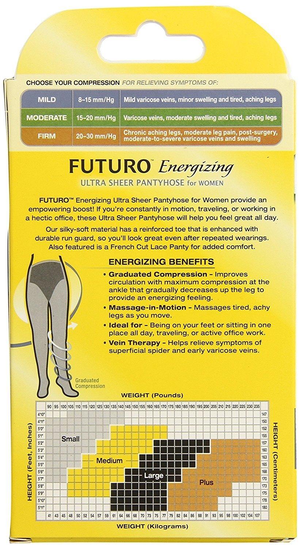 1bee12d3ec1 FUTURO - Energizing Ultra Sheer Pantyhose For Women French Cut Lace Panty  Mild Small Nude 1 Pair - Walmart.com