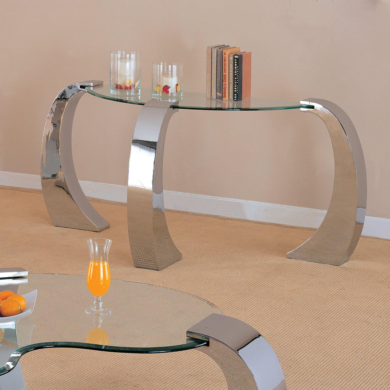 Coaster Furniture Glass Top Console Table - Chrome