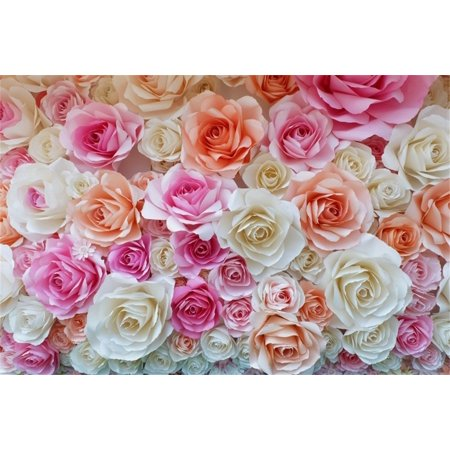 GreenDecor Polyster 7x5ft Backdrop Photography Background Rose Made Flower Paper Colorful Bright Pink Blossoms Flowers Wallpaper Children Baby Kids Lover Portraits Backdrop Photo Studio Props](Photography Backdrop Paper)