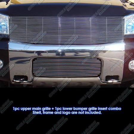 Compatible with 2004-2007 Nissan Titan Armada Billet Grille Combo N87816A ()