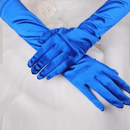 JIMSHOP Vintage Women Elegant Solid Color Long Glove Prom Stretch For Halloween Satin Opera Evening Wedding Party](Long Blue Satin Gloves)