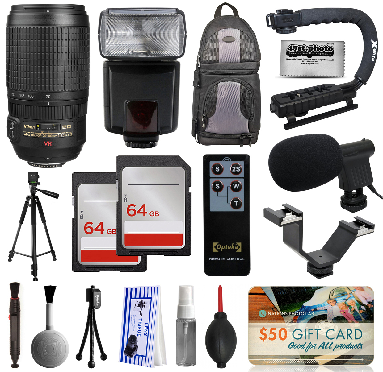 Must Have Accessory Bundle with Nikon VR 70-300mm Lens + Flash + Backpack + 128GB Memory + Microphone for Nikon DF D7200 D7100 D7000 D5500 D5300 D5200 D5100 D5000 D3300 D3200 D3100 D3000 D300S D90