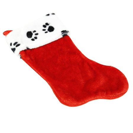 paw print plush christmas stocking 16 inch animal pet new dog cat decoration