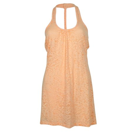 Miken Swim Cantaloupe Braided Burnout Racerback Cover Up Tank Dress L (Dress Up Ideas Starting With L)