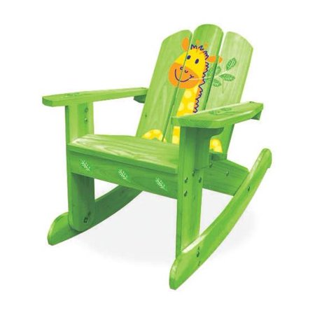 Kids Adirondack Wooden Rocking Chair in Green Safari ()