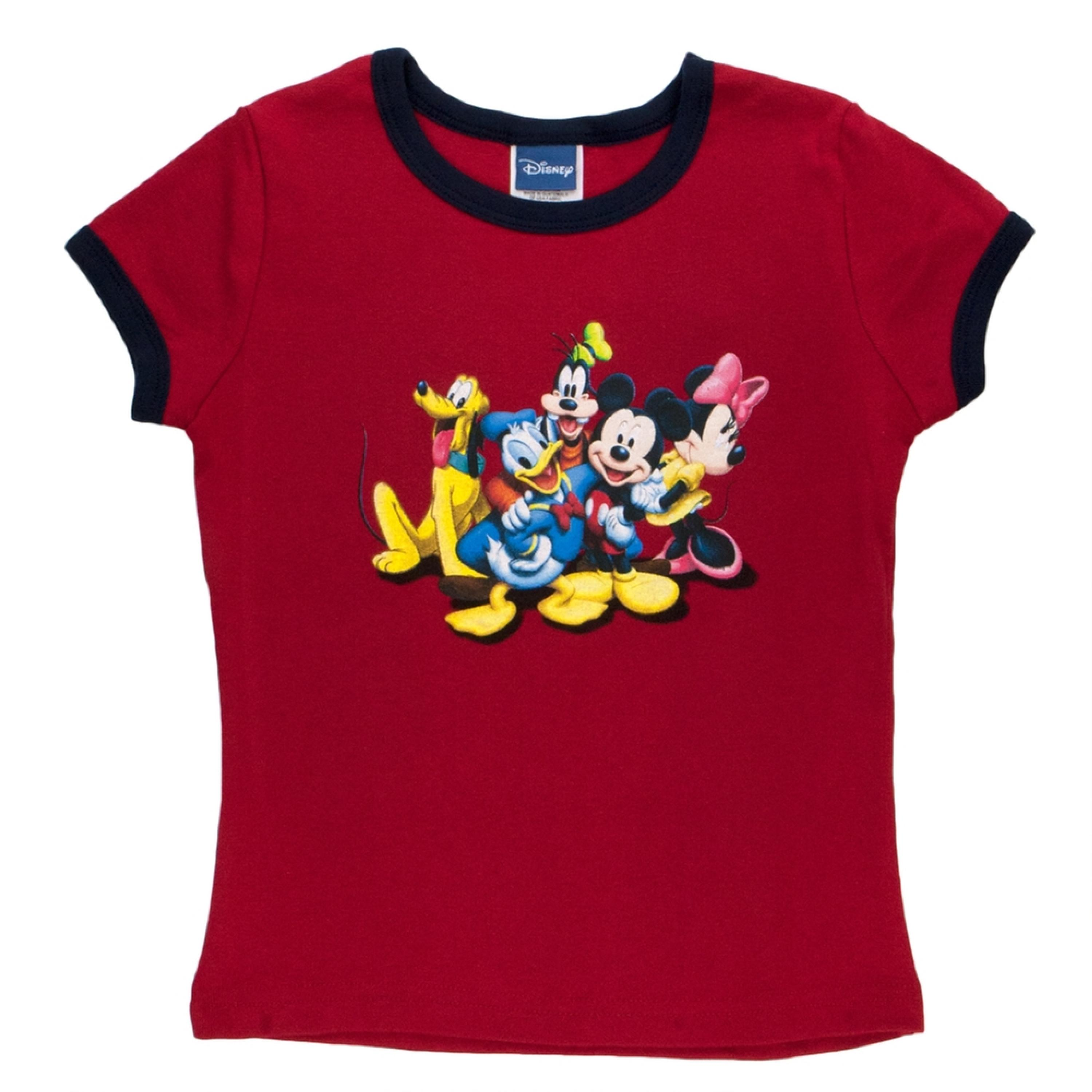 Mickey Mouse - The Gang Girls Youth Ringer T-Shirt