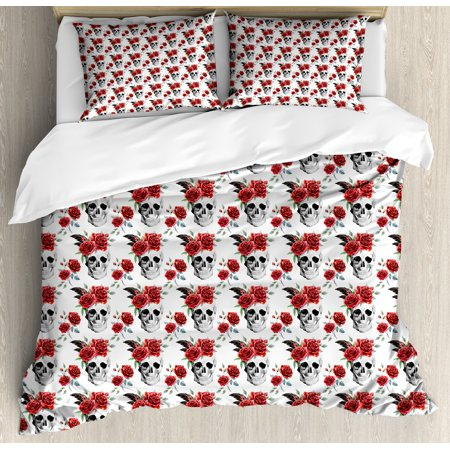 Rose King Size Duvet Cover Set, Watercolor Art Style Skull with Red Roses and Buds Gothic Halloween Pattern, Decorative 3 Piece Bedding Set with 2 Pillow Shams, Vermilion Black Green, by Ambesonne