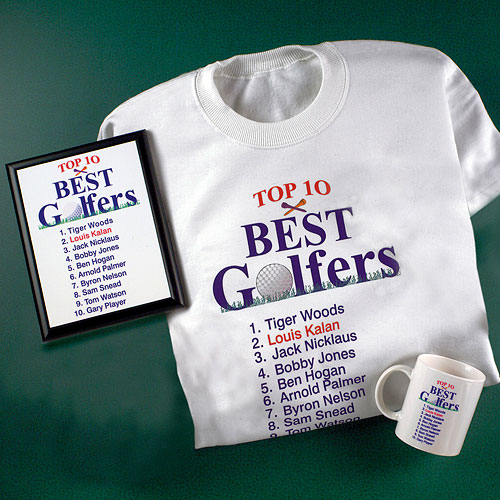 Personalized Top 10 Best Male Golfers T-Shirt