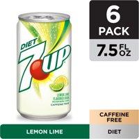 Diet 7UP Lemon Lime Soda, 7.5 fl oz cans, 6 pack