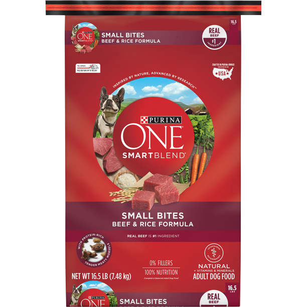 Purina ONE Natural Dry Dog Food, SmartBlend Small Bites Beef & Rice Formula, 16.5 lb. Bag