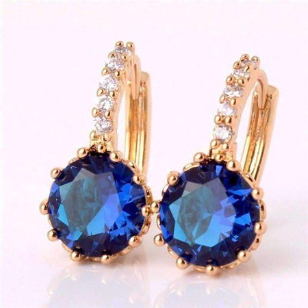 ON SALE - Sapphire Blue Solitaire White Or Yellow Gold Hoop Earrings Yellow Gold plated