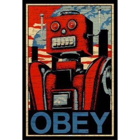 Art Tin - FRAMED Obey Robot 36x24 Graphic Art Print Poster Vintage Tin Overlord