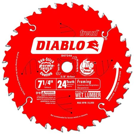 Diablo D0724A Circular Saw Blade, 7-1/4 in Dia, Carbide Cutting Edge, 5/8 in Arbor 10 Pack Carbide Cutting Saw Blade