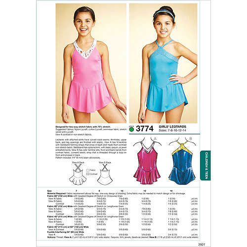 Kwik Sew Pattern Leotards, (7, 8, 10, 12, 14)