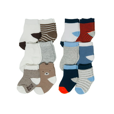 - Child of Mine Fashion Sock Set, Stripe & Critter Crew Designs, 12-pack (Baby Boys)