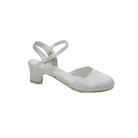 c582d4fc90a4 Pazitos Girls Silver D Orsey Buckle Closure Kitten Heel Shoes ...