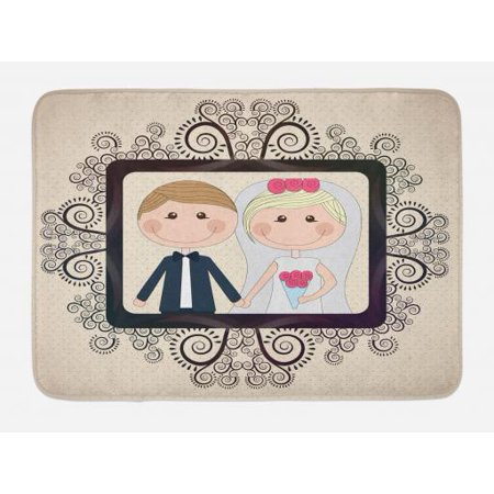 - Romantic Bath Mat, Wedding Photography Illustration with Happy Bride and Groom Swirled Lines Backdrop, Non-Slip Plush Mat Bathroom Kitchen Laundry Room Decor, 29.5 X 17.5 Inches, Multicolor, Ambesonne