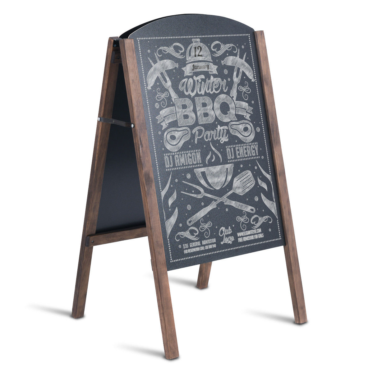 Costway 31.5'' Wood A-Frame Chalkboard Menu Sign Board Sidewalk Wedding Signage