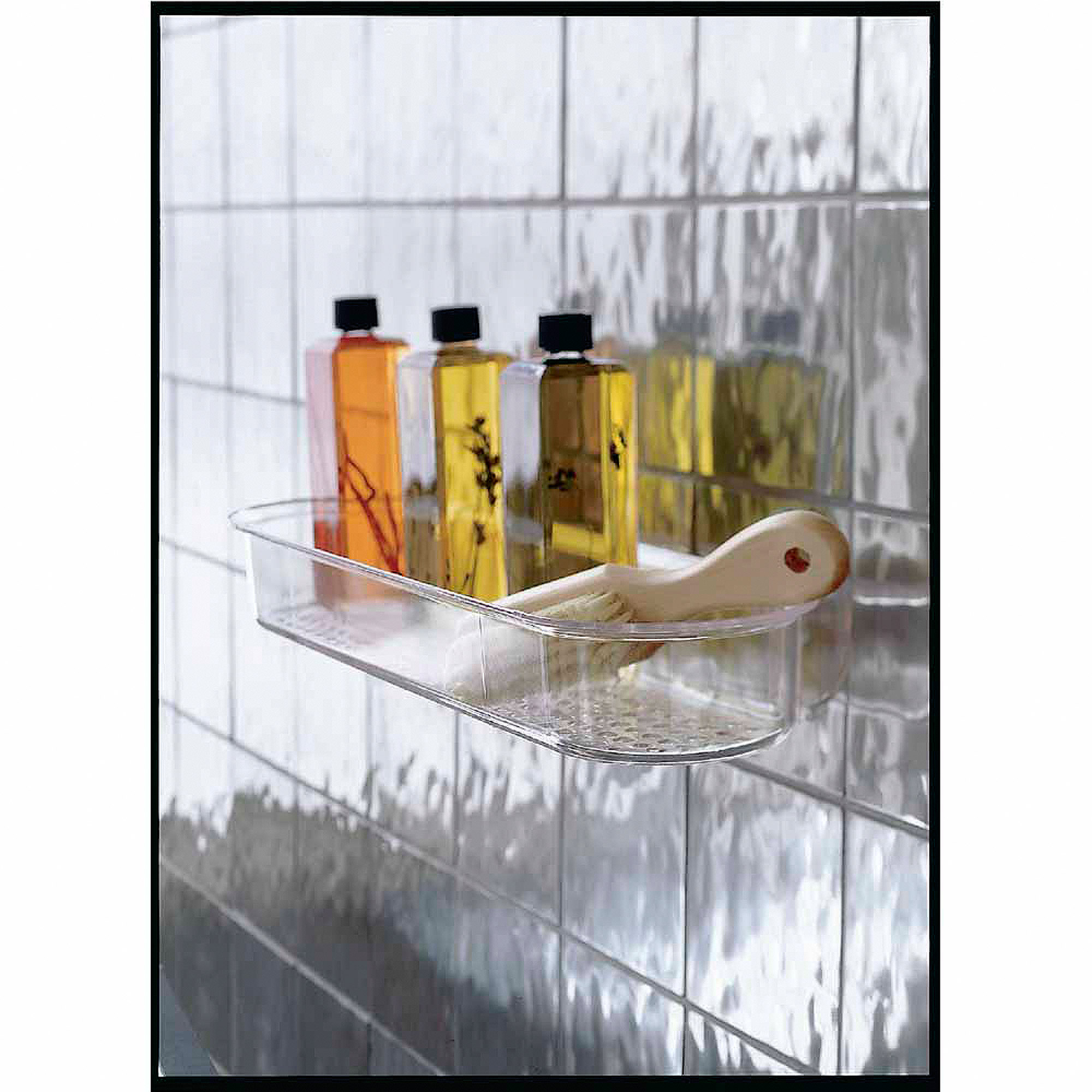 InterDesign Bathroom Shower Suction Caddy Holder For Shampoo, Conditioner,  Soap, Clear