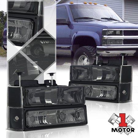 89 90 Chevy Truck - Smoke Tinted Headlight+Signal Corner+Bumper for 88-93 Chevy C10 CK Pickup Truck 89 90 91 92