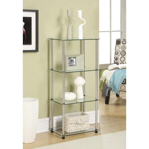 Convenience Concepts Designs2Go 4-Shelf Glass Bookcase