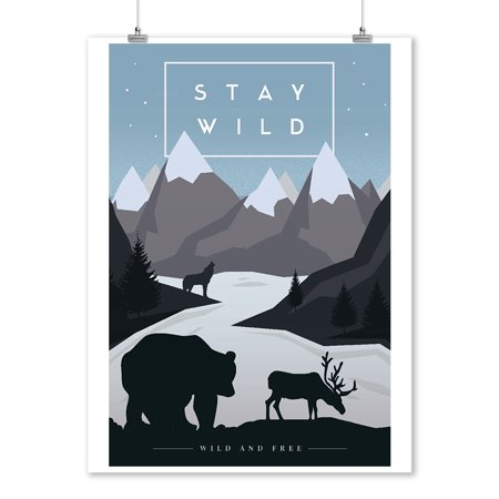 Stay Wild - Animal Silhouettes - Wild & Free - Blue - Lantern Press Artwork (9x12 Art Print, Wall Decor Travel Poster) (Wild Animal Silhouette)