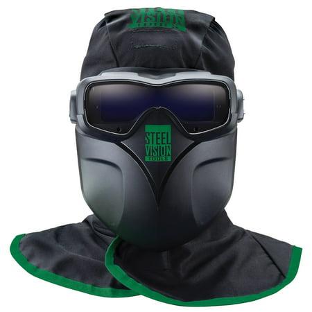 Steel Vision 32000 Auto Darkening Welding Helmet Mask Kit - Welding Goggles, Mask, Hood & Bump Cap Clear Vision Welding Helmet