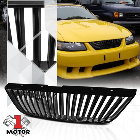 Matte Black ABS Vertical Bar Billet Bumper Grille/Grill for 99-04 Ford Mustang 00 01 02 03