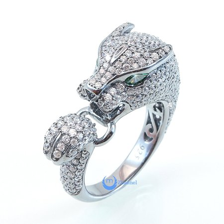 Panther Ring Leopard Animal w/ Green Eyes Fashion Ring Signity CZ Sterling Silver (SIZE: 6)