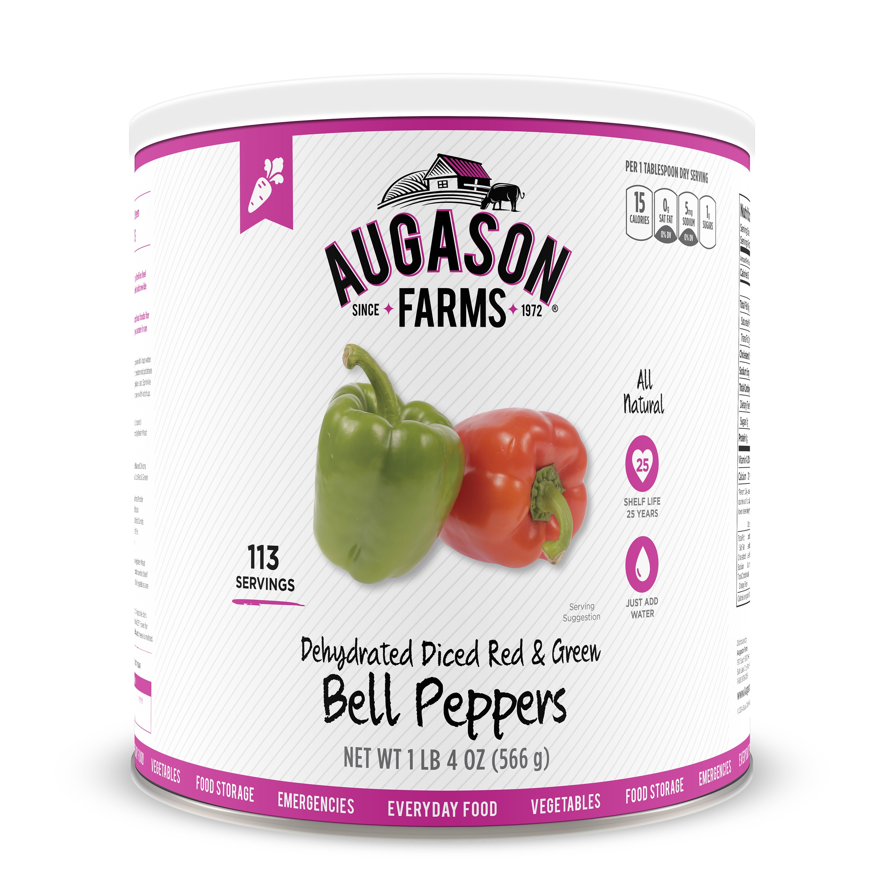 Augason Farms Dehydrated Diced Red & Green Bell Peppers, 20 Oz
