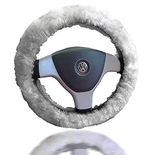 Zento Deals Soft Stretchable Sheepskin White Steering Wheel Cover Protector - A Must Have for All Car Owners for a More Comfortable Driving