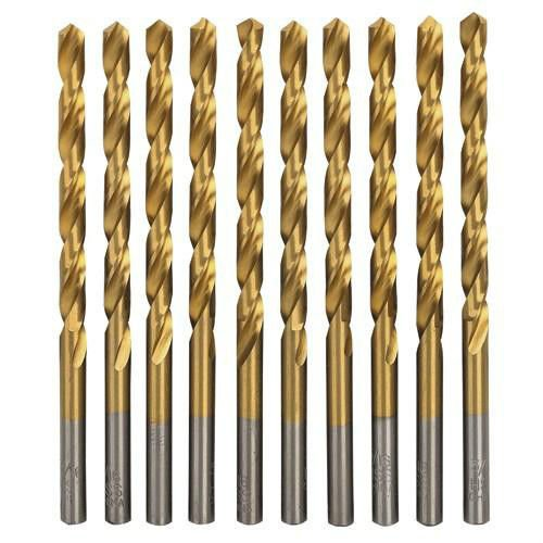 10 PACK 3/16 in. TITANIUM COATED HSS DRILL BITS FOR WOOD, METAL & PLASTIC