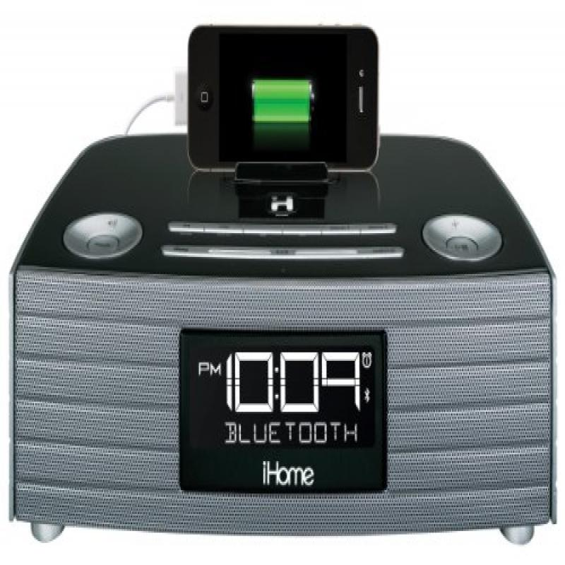 iHome Bluetooth USB Charging FM Clock Stereo Gunmetal by iHome