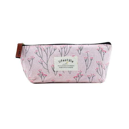 Tinymills Cute School Pencil Case Pouch Floral Pattern Canvas Pencil Zipper Bag Best as Kids