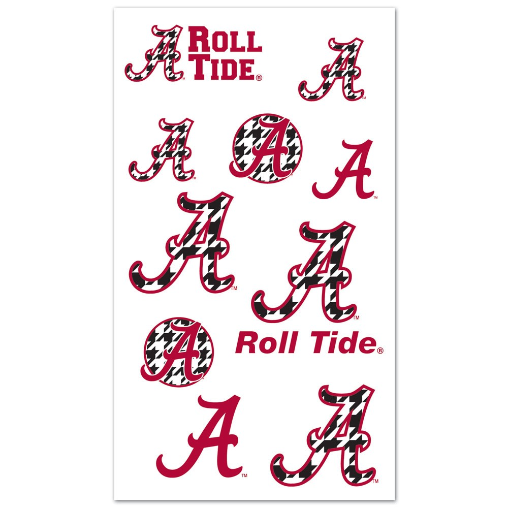 Alabama Crimson Tide Official NCAA 4 inch x 7 inch  Temporary Tattoos by Wincraft