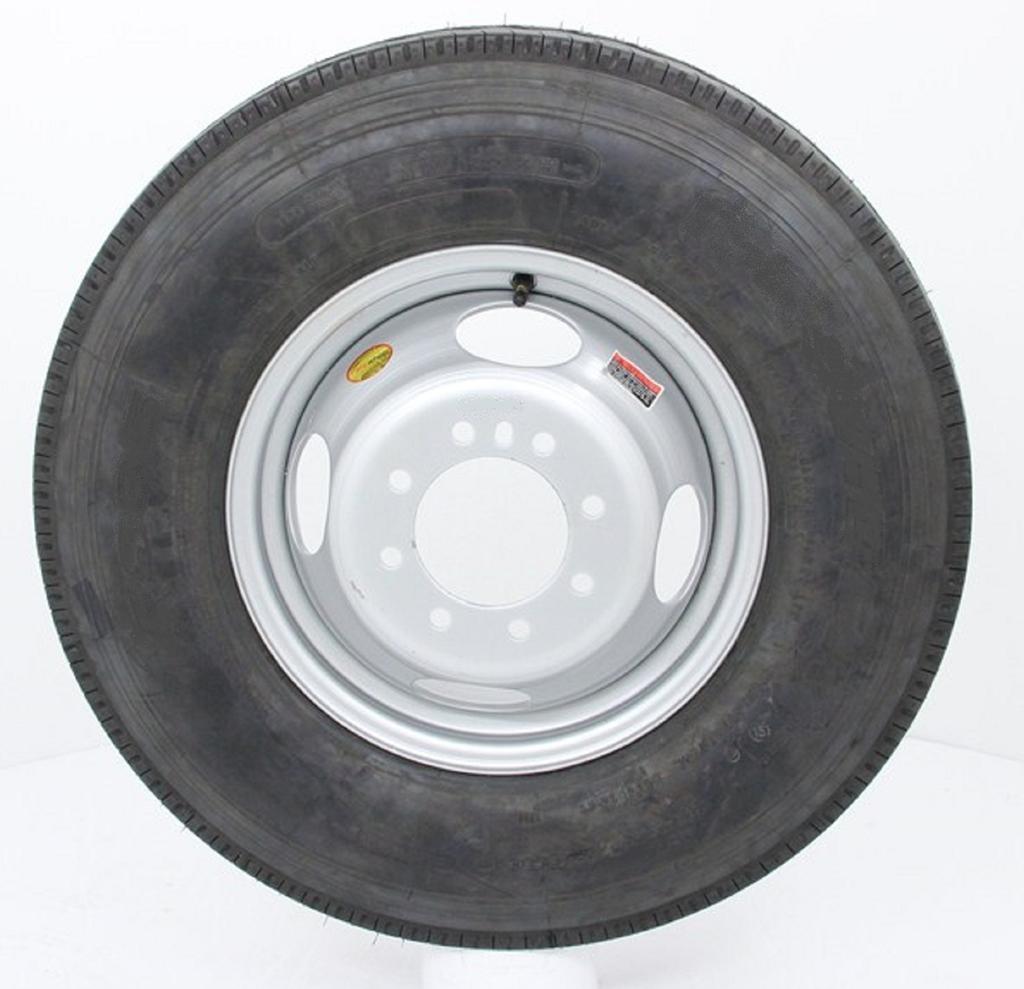 Radial Trailer Tire On Silver Rim 215/75R17.5 LRH (8 Lug ...