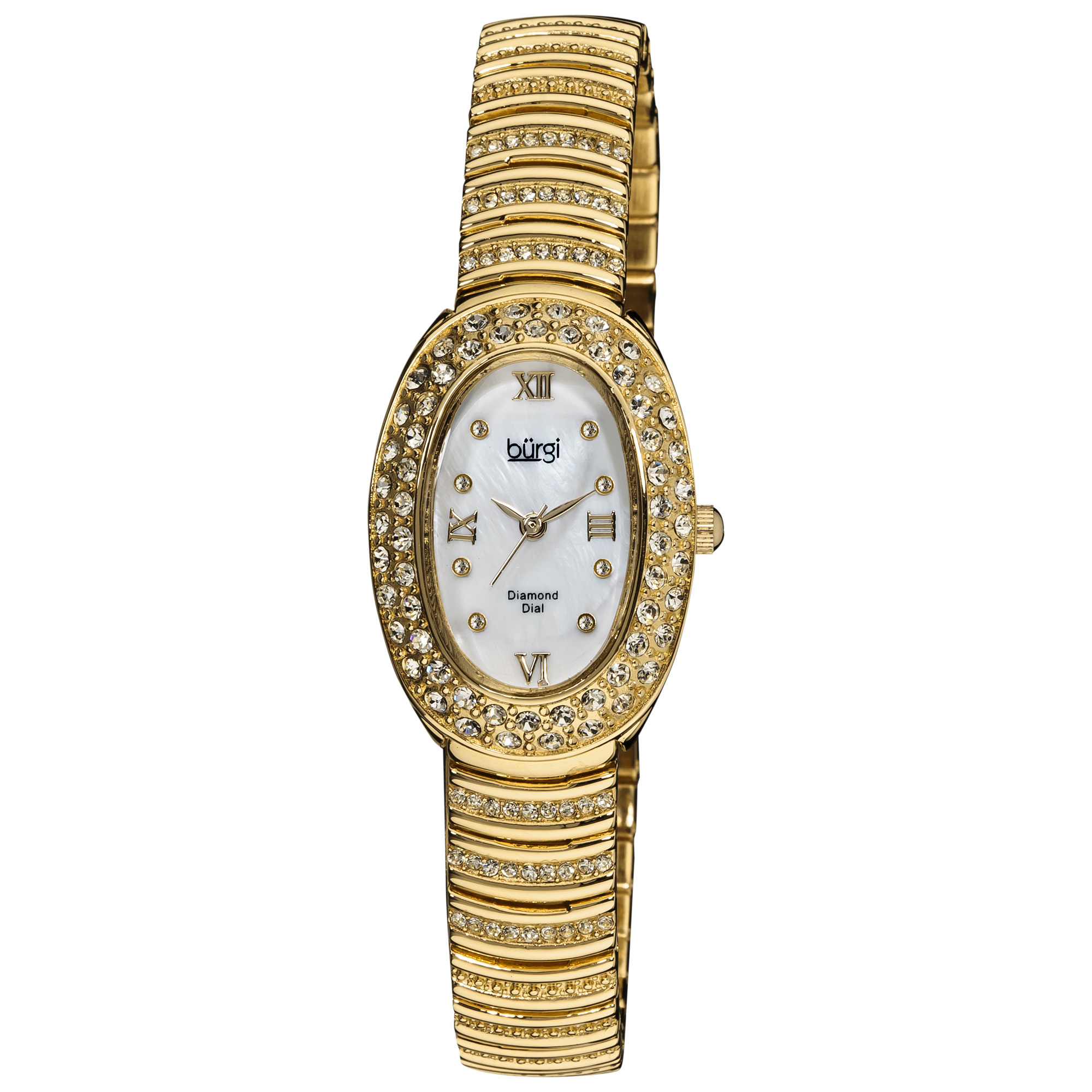 Burgi Women's Diamond Oval Quartz Gold-Tone Bracelet Watch