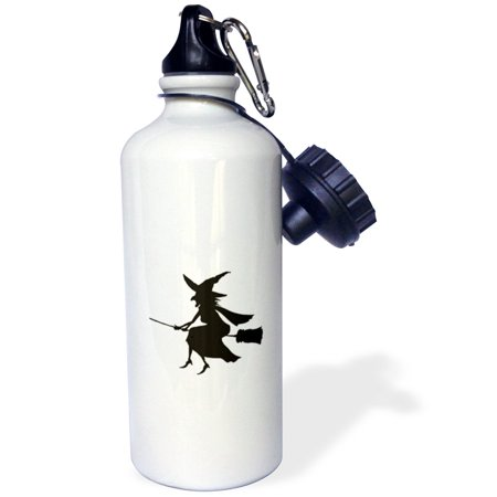 3Drose Witch On Broom Halloween Silhouette  Sports Water Bottle  21Oz