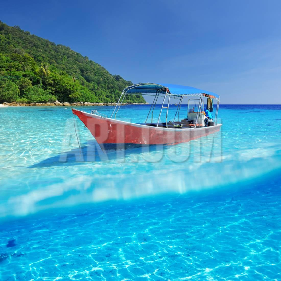 Beautiful Beach and Motor Boat with White Sand Bottom Underwater and above Water Split View Print Wall Art By haveseen