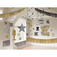 New Years's Giant Black Silver & Gold Room Decoration Kit